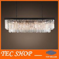 JH American Country Crystal Chandelier Dining Room Creative Rectangular Chandeliers Crystal Pendant LED Lighting RH Chandelier