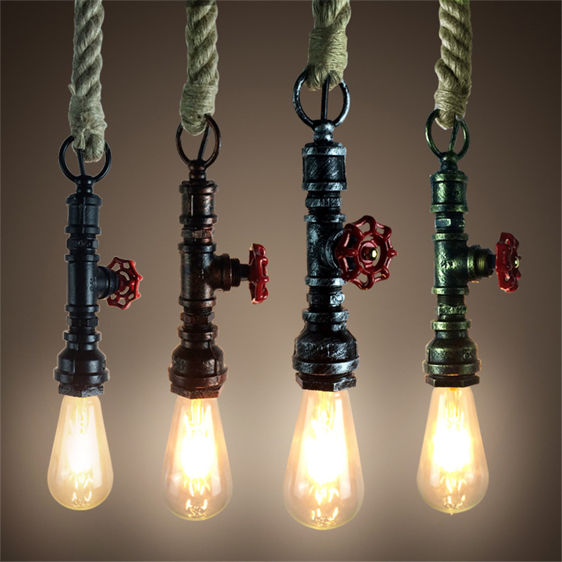 American Country Retro Creative Bar Cafe Restaurant Bar Hanging Lamp Industrial Wind water pipe Hemp Rope pendant lightsAmerican Country Retro Creative Bar Cafe Restaurant Bar Hanging Lamp Industrial Wind water pipe Hemp Rope pendant lights