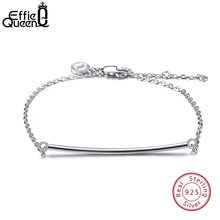 Effie Queen Real Sterling Silver Bracelet Long Bar Lobster-claw-clasps Women Cuff Bracelets 925 Silver Fashion Jewelry Gift BB27(China)
