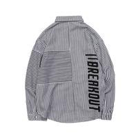 Printed Korean Striped Shirt Men Long Sleeve Japanese Streetwear Dress Mens Shirt Casual Hip Hop Vintage Men Clothes 2018 5na127