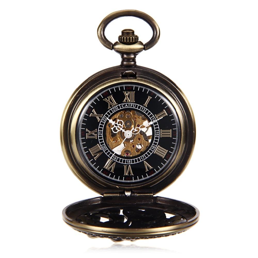 20PCS A LOT Lover Double Birds Carved Steampunk Fashion Skeleton Watches Hand Wind Mechanical Pocket Watch Reloj De Bolsillo