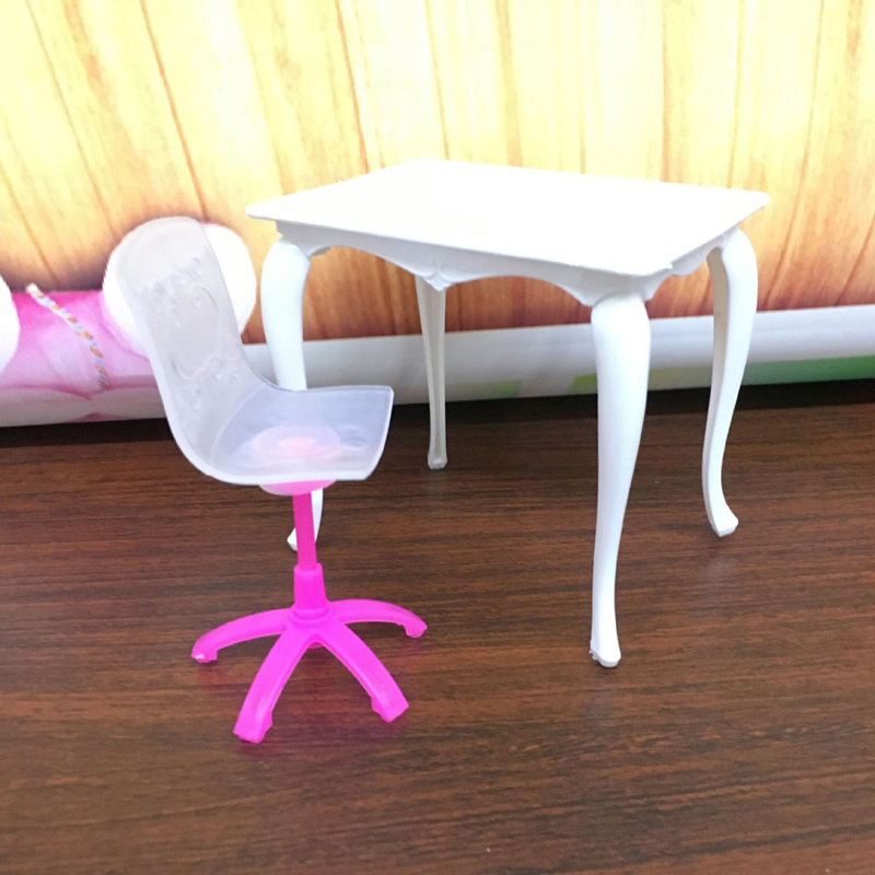 4pcs Mini Doll Furniture Toy Set Desk Lamp Laptop Computer Chair Doll House Accessories for Doll Kids Girls Gift Play House Toys