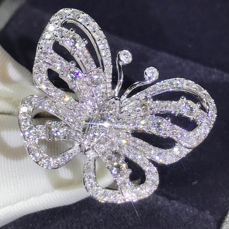 Butterfly Rings Engagement-Ring Wedding-Bands Crystal Fashion Jewelry Animal Silver-Color