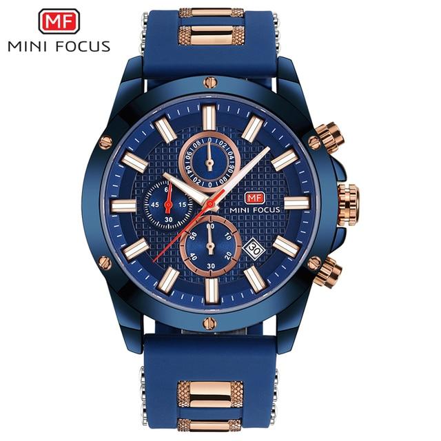 מיני פוקוס Mens שעוני יד קוורץ שעון גברים עמיד למים צבאי ספורט שעונים גברים יוקרה מותג זכר שעון Relogio Masculino כחול