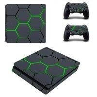 HOMEREALLY PS4 Piel Delgada de Color Verde Personalizado Pegatina Cubierta Para Ps4 Playstation 4 Slim Consola y el Mando de La Piel Silm Accesorio