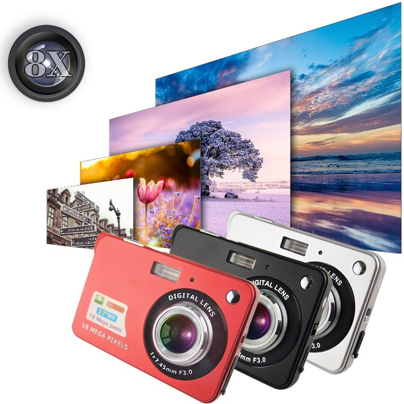 high quality 1280 720 hd mini digital camera 18mp 2 7 tft 8x zoom smile capture anti shake. Black Bedroom Furniture Sets. Home Design Ideas