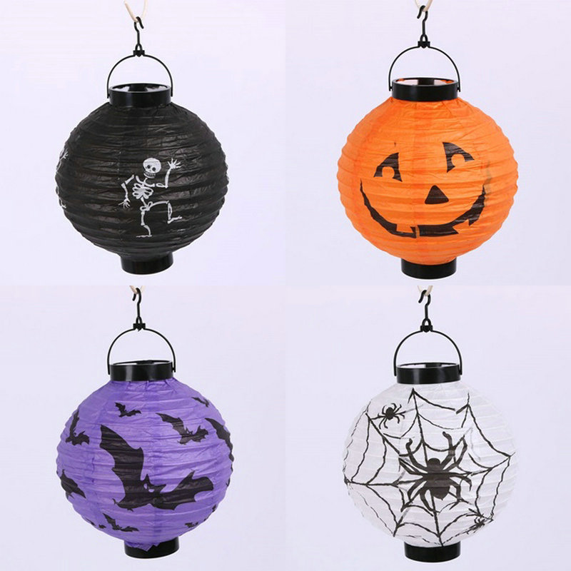 halloween decoration led paper pumpkin light hanging lantern lamp halloween props bat skull spider decor outdoor - Halloween Hanging Decorations
