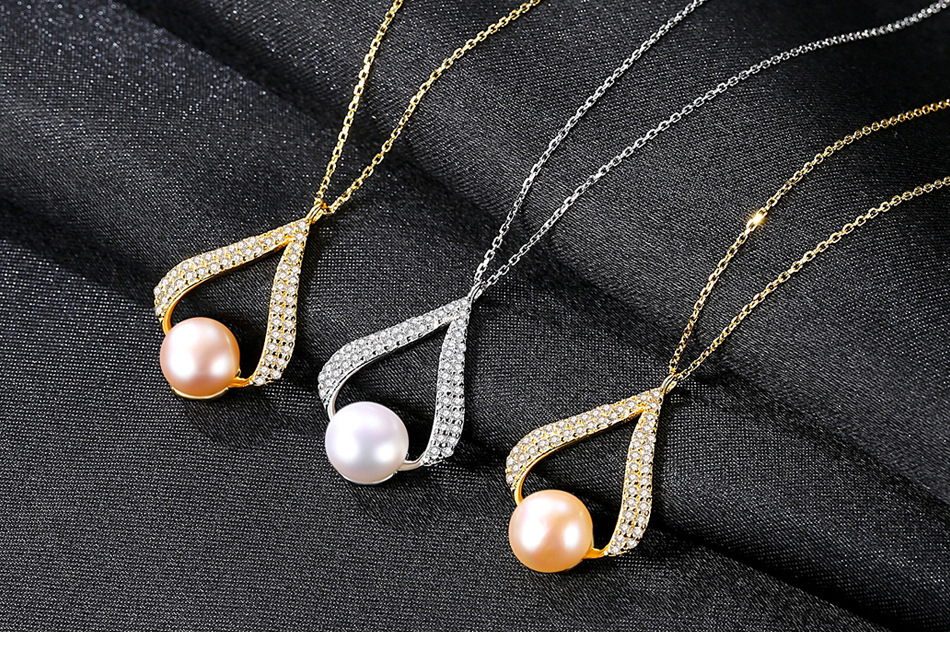 S925 sterling silver pearl necklace pendant zircon fashion female necklace LBA05
