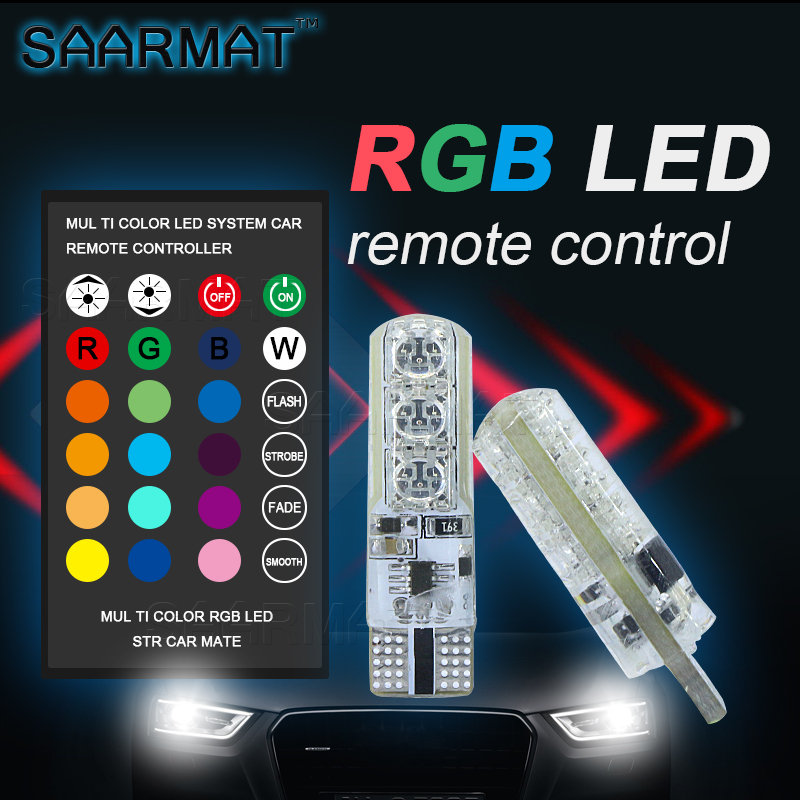 1 Cüt T10 W5W 194 RGB LED Təmizləmə İşıq Lampa Park Lampası - Avtomobil işıqları - Fotoqrafiya 1