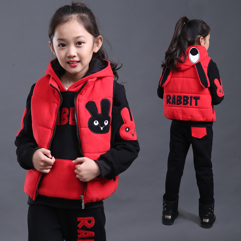 ФОТО Children Clothing Plus Velvet Thicken Winter Girls Clothing Sets Fashion Casual Girls Vest + Coat + Pants Sport Suit Clothing