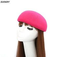 SUOGRY осень женская шляпа-федора классическая шляпа Chapeau femme Имитация шерсти Кепки Для женщин Шапки Милая однотонная черная шляпа-котелок женский