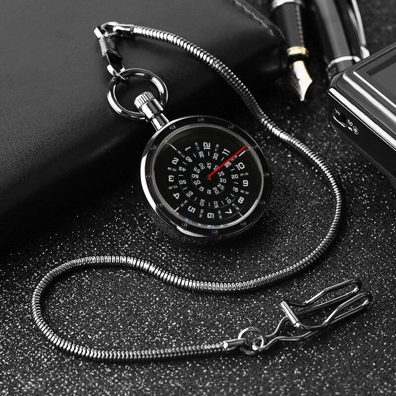 Retro Black Steampunk Open Face Turntable Design Quartz Pocket Watch Fob Pendant Clock Gifts for Men Women reloj de bolsillo