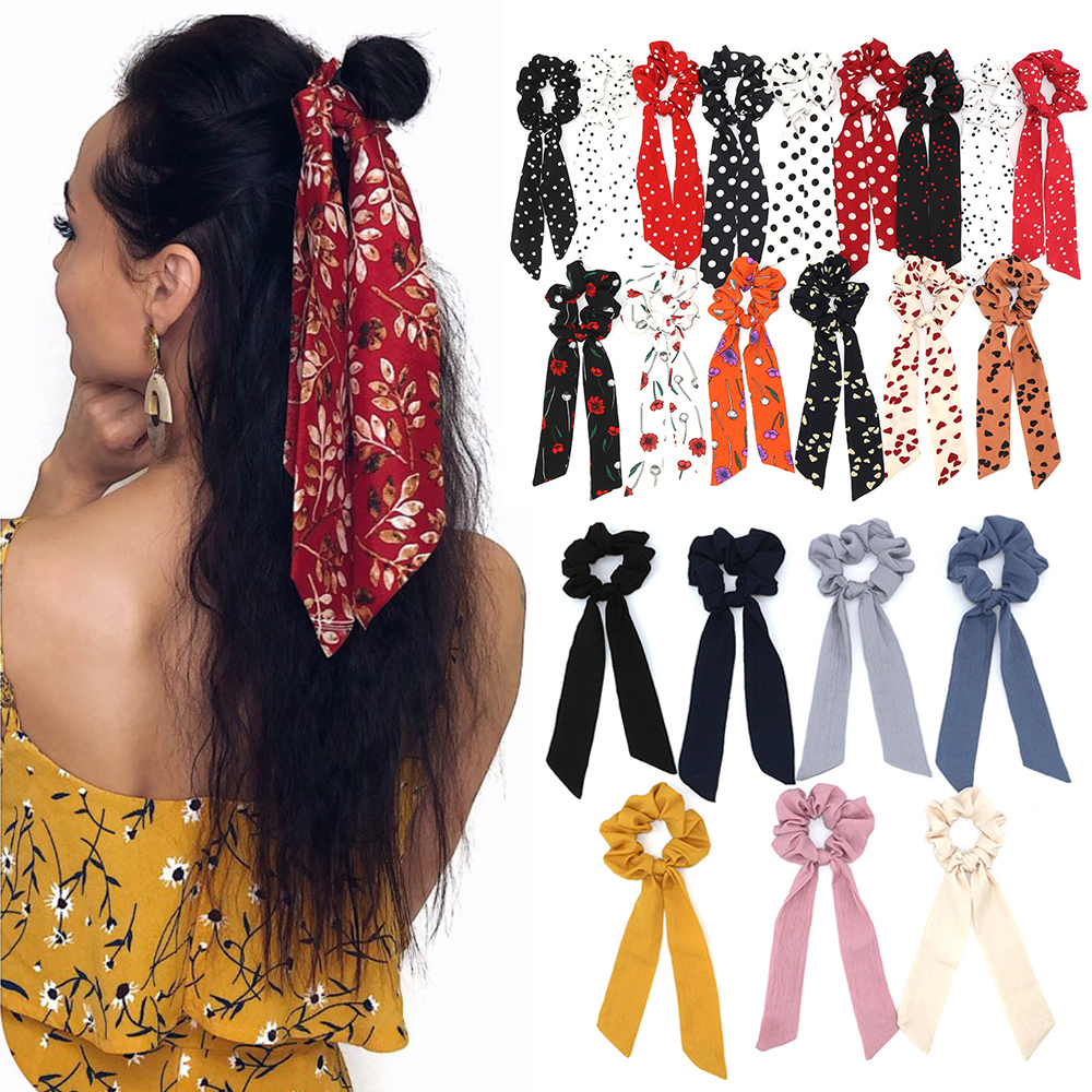 Bohemian Style Women Floral Print Scrunchie Hair Scarf Elastic Bow Hairband Hair Rubber Girls Hair Ties Ropes Hair Accessories