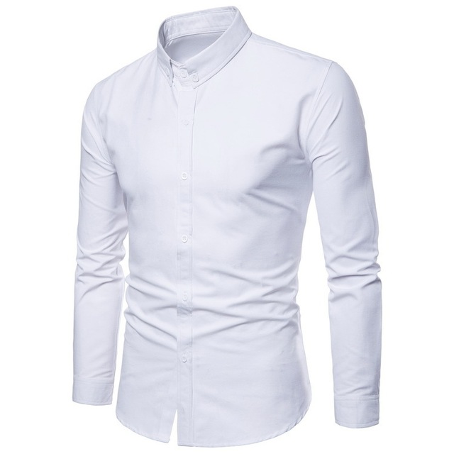 c5b76b69898 White Print Shirt Men 2018 New Button Down Mens Dress Shirts Casual Slim  Fit Long Sleeve Business Chemise Homme Camisa Social