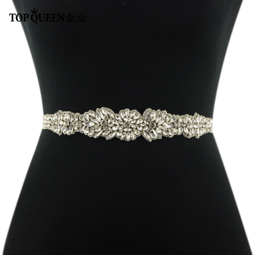 TOPQUEEN S334 Wedding Belt With Crystal Beads Ribbon Belts Wedding Dress Accessories Belts For Dress For Evening Party