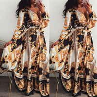 Femmes Boho Wrap été longue robe vacances Maxi robe de soleil ample imprimé fleuri col en v à manches longues robes élégantes soirée de Cocktail