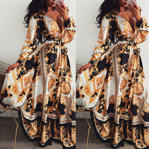 Women Boho Wrap Summer Long Dress Holiday Maxi Loose Sundress Floral Print V-neck Long Sleeve Elegante Dresses Cocktail Party
