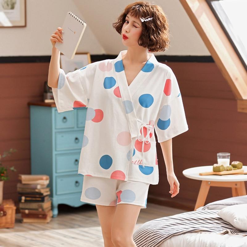 Women new summer cotton ladies pajamas fresh cardigan Japanese kimono half sleeve belted casual two piece pajama sets pajama set