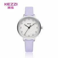 KEZZI Watch Women Fashion Luxury Diamond Unique Design Woman Watches Leather 2017 Brand Stainless Steel Quartz