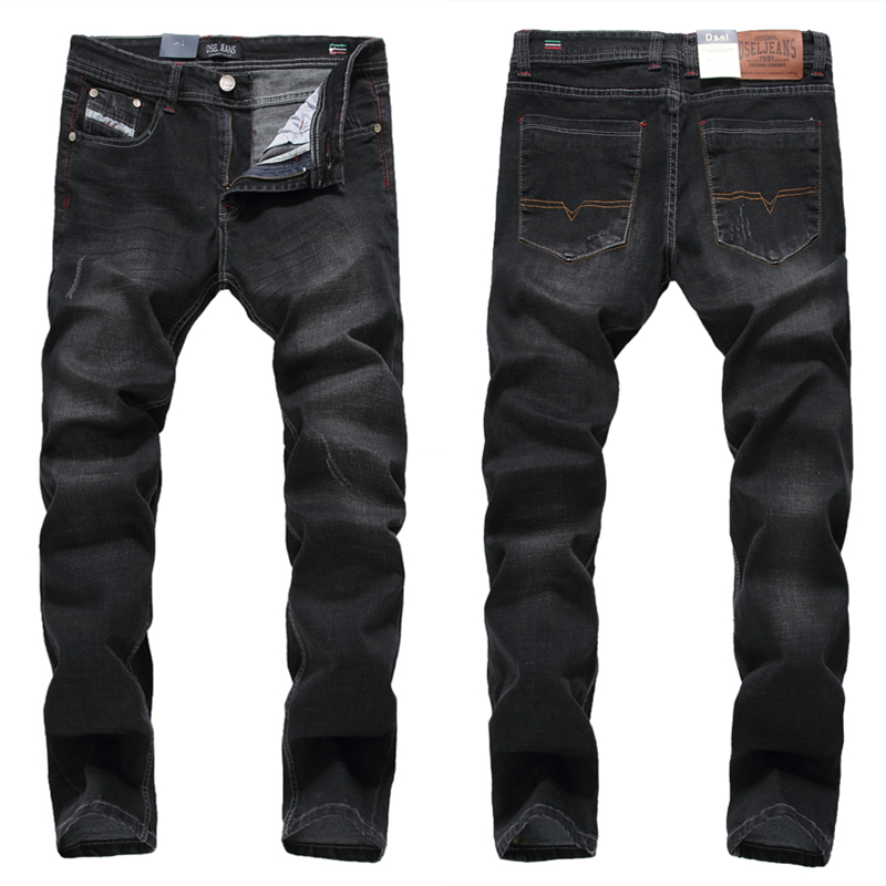 New Arrival Fashion Mens Black Jeans Elastic Trousers Male Slim Fit Dsel Brand Jeans With Logo Stretch Ripped Jeans Men H707 2017 fashion patch jeans men slim straight denim jeans ripped trousers new famous brand biker jeans logo mens zipper jeans 604
