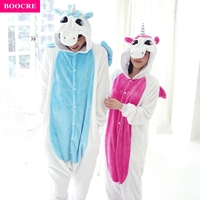 BOOCRE Unisex Children Adult Anime Animal Onesie Party Costume Flannel Pajamas Pink Blue Unicorn Cosplay All