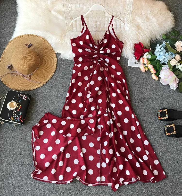 Women Beach Red Dress 2019 Summer New Seaside Holiday Sleeveless Dot Print Casual Vestidos E496 53