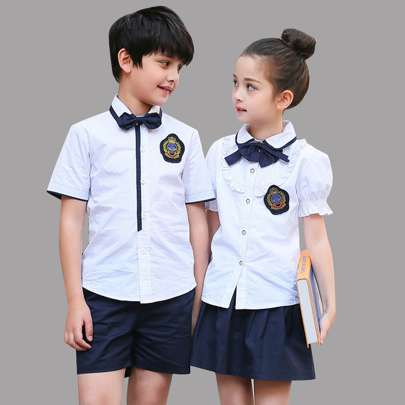 Children Clothes Sets Summer Students School Uniforms Sets Boys Shirts & Shorts Suits Girls Tops Skirts Sets Kids Formal Outfits