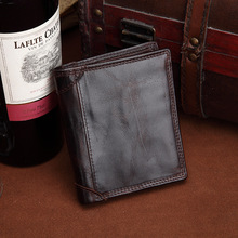 New Vintage males coin pockets Short part Genuine Leather wallets Clutch Crazy horse pores and skin portfolio top quality Designer purse