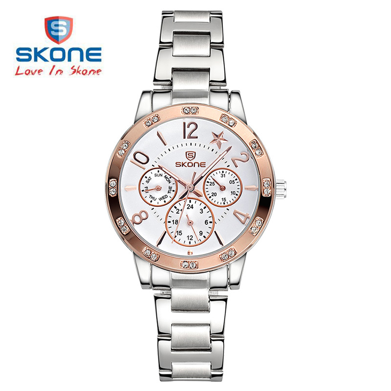SKONE Luminous Rhinestone Bezel Womens Chronograph Watches Lady Fashion Silver Watch Women Analog Quartz-watch relogios feminino skone 5051 luminous pointers quartz watch men rotatable bezel wristwatch