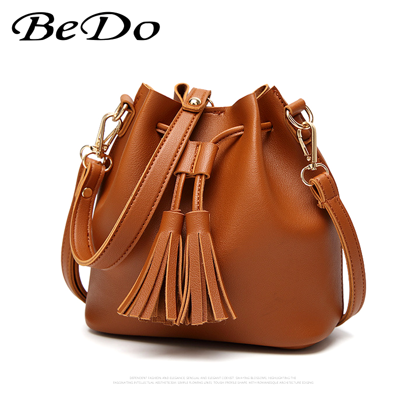 BeDo Fashion Women Bucket Handbag Vintage PU Leather Shoulder Bag with Tassel Female String Open Design Shopping Bag Party Tote