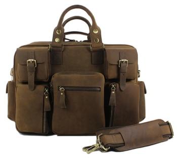 Crazy Horse Leather men Luggage travel bag Genuine Leather Men Duffle bag Weekend Luggage bag Large Bag of trip suitcase Handbag 1