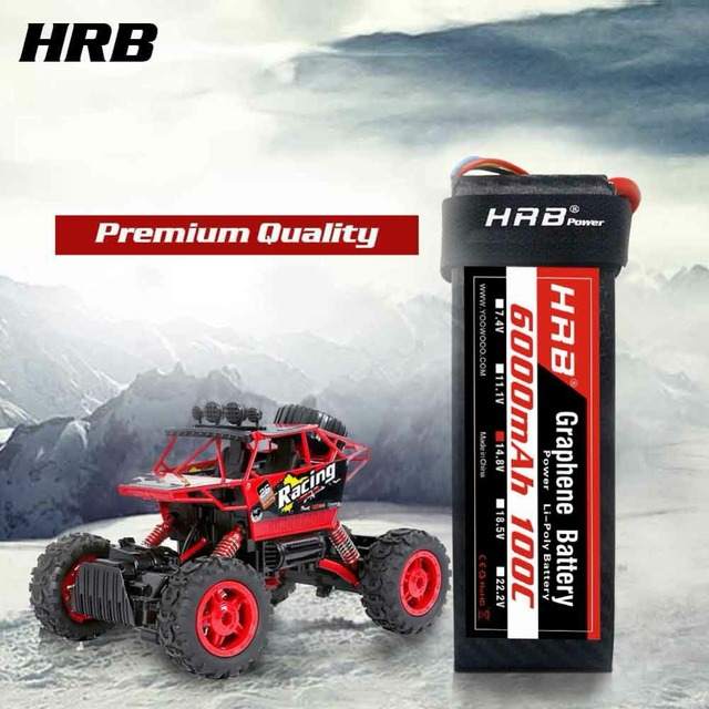 US $111 42 35% OFF|HRB Graphene Battery 4S 14 8v 6000mah 100C Max 200C RC  Lipo Battery for RC Airplane Drone Car Boat AKKU with 1 8S Voltage  tester-in