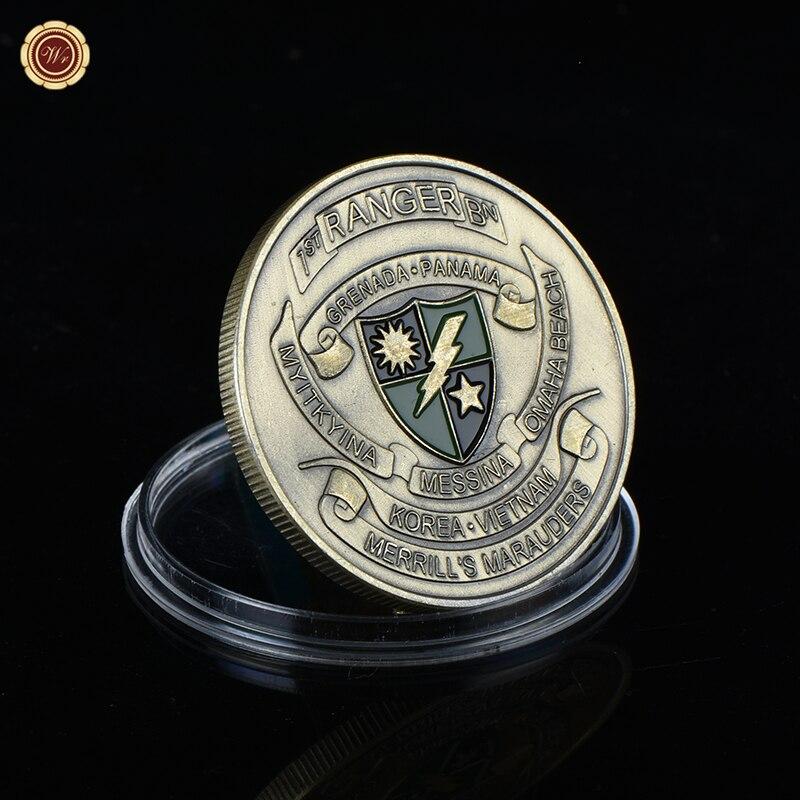 WR Кухонные плиты проложить путь армии США бронзовая покрытием памятная монета с Пластик Capsule Merrill мародеров металлических монет для подарки
