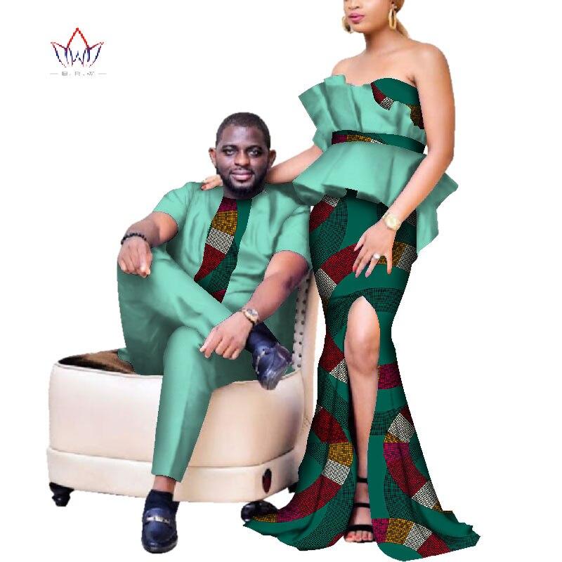 Nouveau élégant femmes sirène robes Couples vêtements africain imprimé robes de grande taille Dashiki hommes ensemble pour amant WYQ233