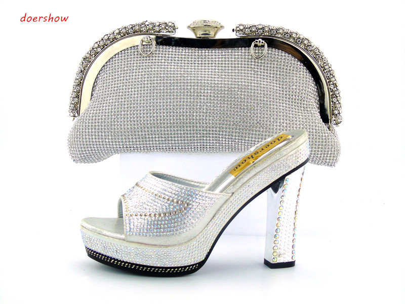 doershow African Women Shoe and Bag to Match Set Decorated with Rhinestone New Design Italian Shoe and Bag Set for Party !JK1-51