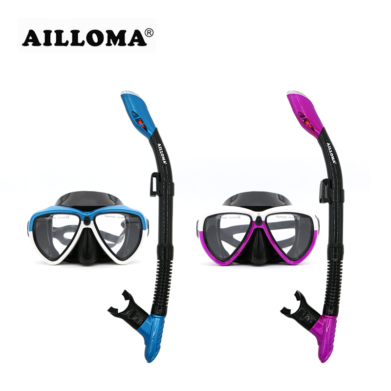 AILLOMA Anti-Fog Scuba Snorkel Mask Set Silicone Waterproof Underwater Adult Diving Equipment Anti-skid Goggles Tube Sets