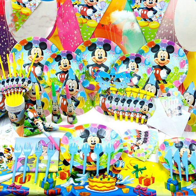 mickey mouse table and chairs australia average cost to reupholster a dining room chair cartoon birthday party set event decorations horn invitation card hats spoon knife cloth free shipping