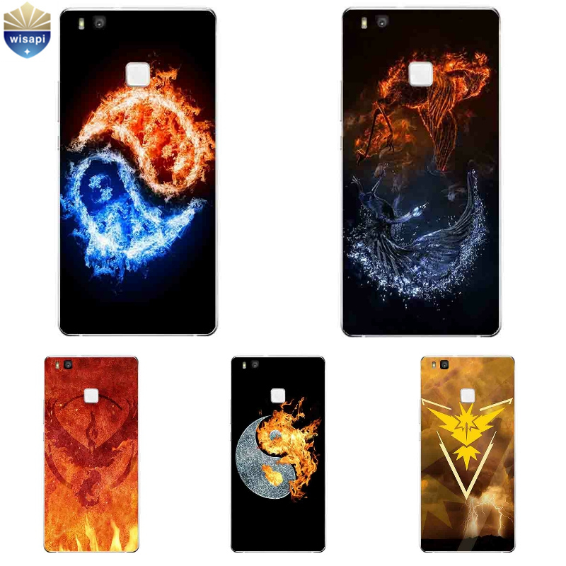 Phone Case For Huawei P9 Lite G9 For Huawei P9 / P9 Plus Shell For Huawei Honor 5C Cover Soft TPU Gossip Fire Design Painted
