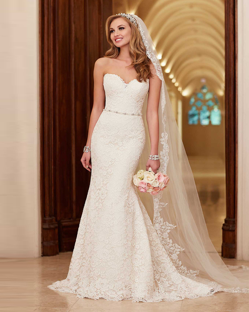 Vestido de noiva elegant simple wedding dress 2015 for Simple wedding dresses for small wedding