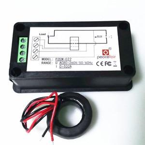 "Image 2 - Peacefair 6in1 220V 100A AC שלב אחד דיגיטלי לוח Amp וולט הנוכחי מטר ואט גורם כוח קוט""ש אנרגיה מד עם סליל CT"