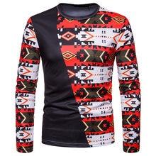 Mens Hipster Patchwork Christmas T Shirt Camiseta 2018 Fashion Tribal Ethnic Print T-shirt Men Harajuku Streetwear Tops Tees XXL(China)
