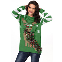 Winter Ugly christmas sweater Women Green Festive Reindeer Holiday Sweaters woman Knitting Pullovers Jumper Ladies