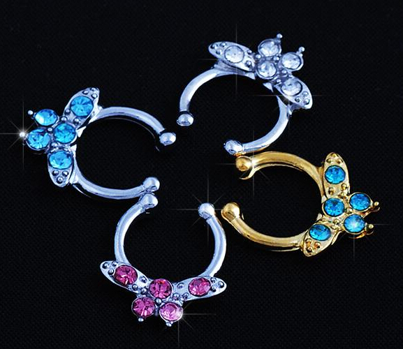Piercing Nombril Special Offer Ear Plugs 1pc Non-piercing Line Gems Septum Hanger Clip-on Fake Nose Ring Body Jewelry 2015 New
