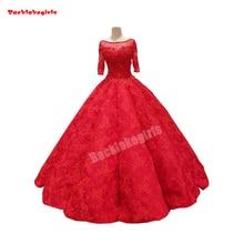 32211 Red Wedding Dress Half Sleeve Appliqued Bridal Gowns