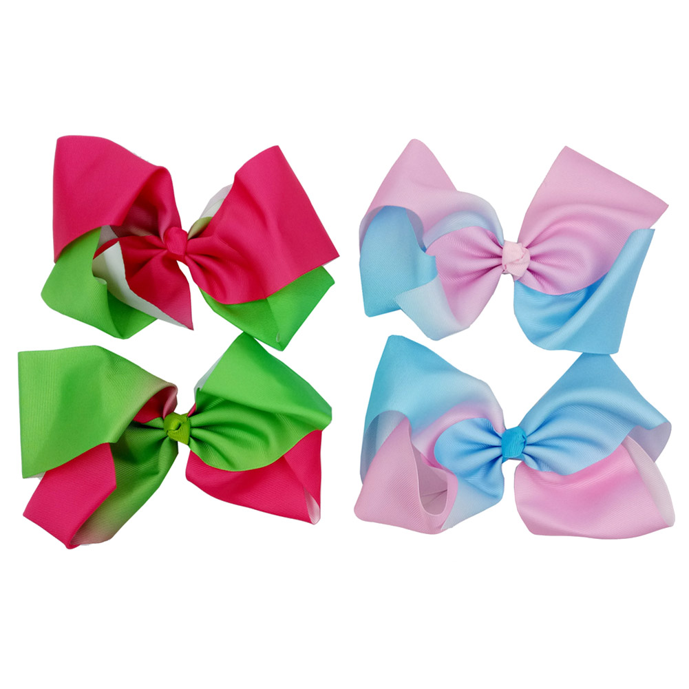Large Rainbow Progressive Color Bow Hairpin Childrens Butterfly Knot Hair Clip 20cm