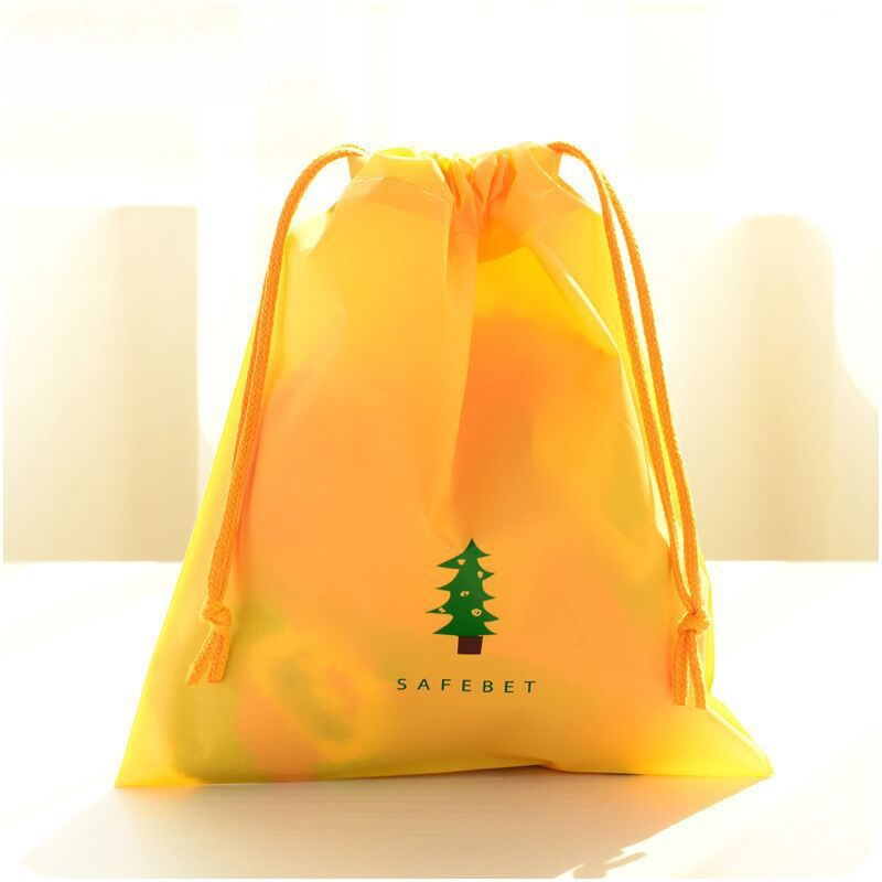 New Sale Cartoon Drawstring Pouch Travel Bags Clothes Storage Luggage Bags Waterproof Clothing Bag Shoe Bag Yellow