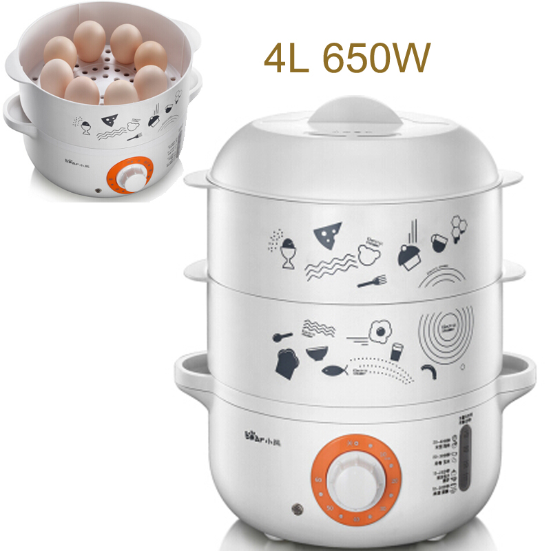 15%JA129 Double Layers Electric Food Steamers 4L 650W Multifunction Timing Electric Steamer Safety Auto-off Function Steamed Pot bear dzg 305 electric steamer multilayer electric steamer multifunction three layers microcomputer appointment timing