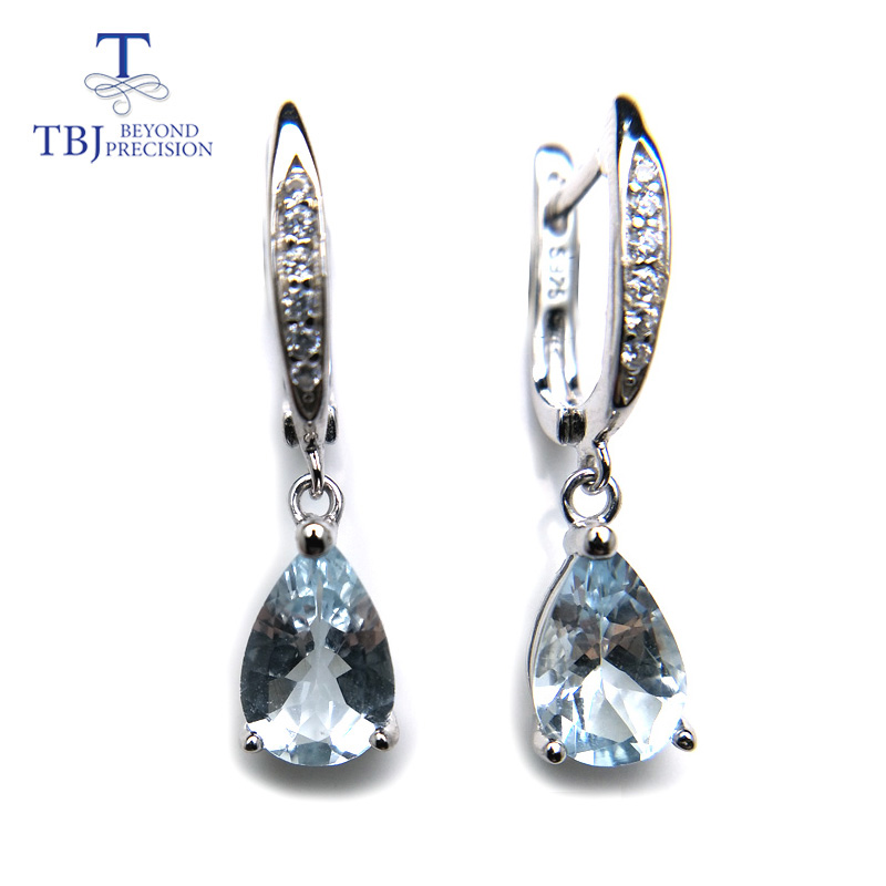 TBJ,Natural brazil aquamarine dangle earring in 925 sterling silver small cute simple gemstone jewelry for girls with gift box tbj 2017 clasp earring with natural brazil aquamarine in 925 sterling silver jewelry natural gemstone earring classic design