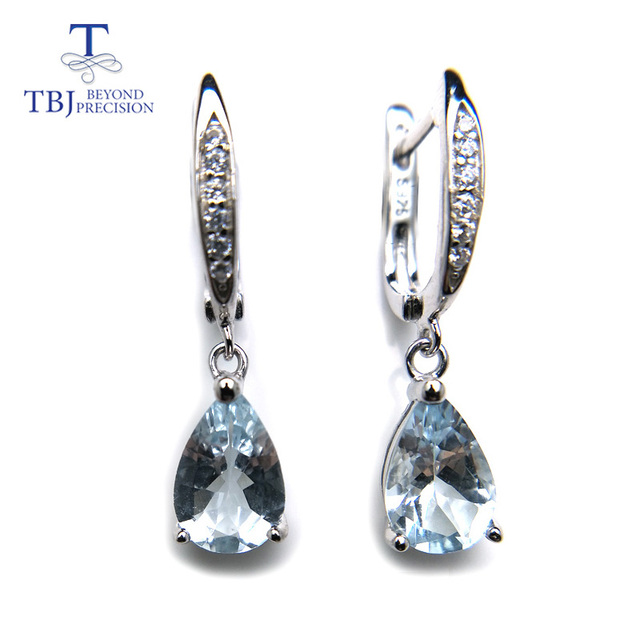 8adeff1fe TBJ,Natural brazil aquamarine dangle earring in 925 sterling silver small  cute simple gemstone jewelry for girls with gift box