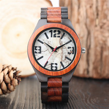 Fashion Cool Full Wooden Case Marble Number Design Dial Men's Quartz Wristwatch Wood Clasp Luxury Casual Nature Style Watch Gift